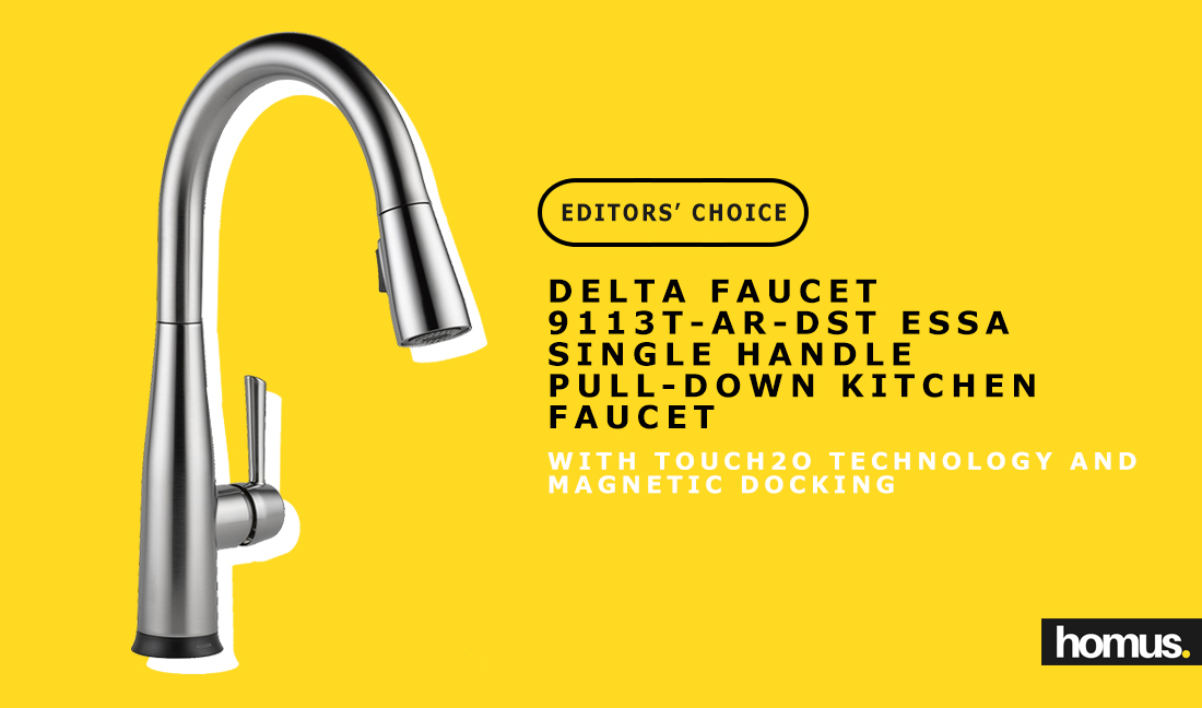 Delta Faucet 9113T-AR-DST Essa Single Handle Pull-Down Kitchen Faucet with Touch2O Technology and Magnetic Docking ec
