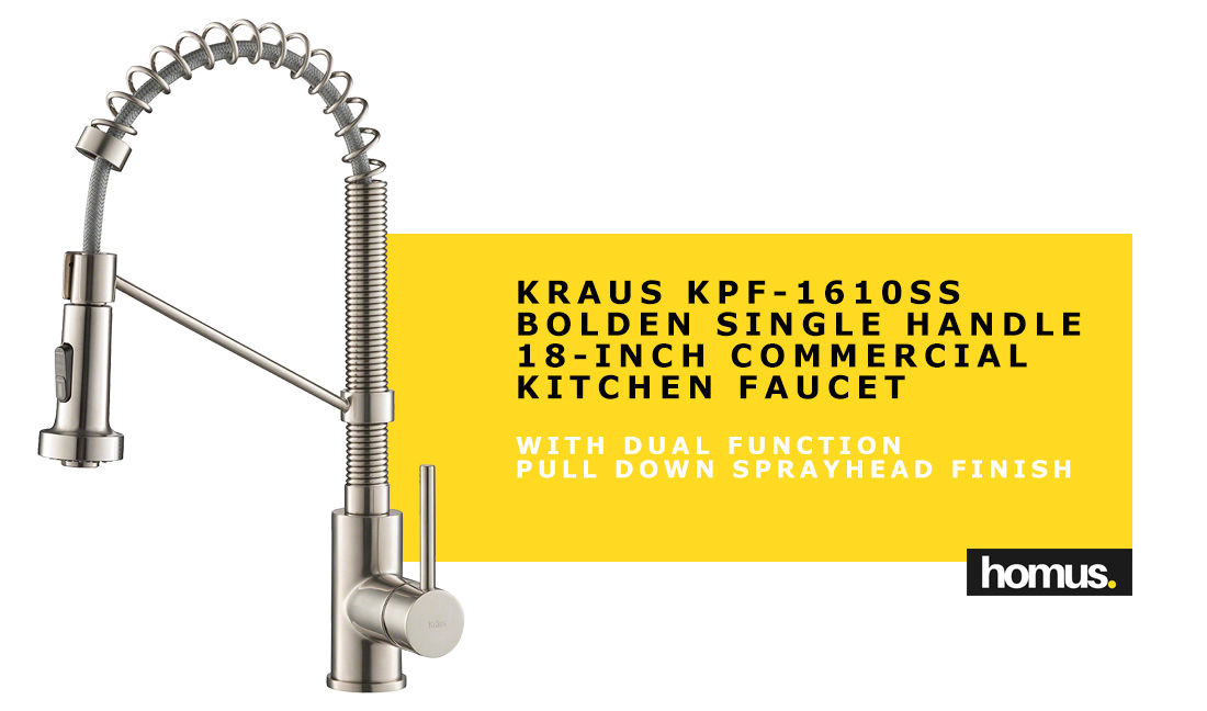 Kraus KPF-1610SS Bolden Single Handle 18-Inch Commercial Kitchen Faucet with Dual Function Pull Down Sprayhead Finish, Stainless Steel
